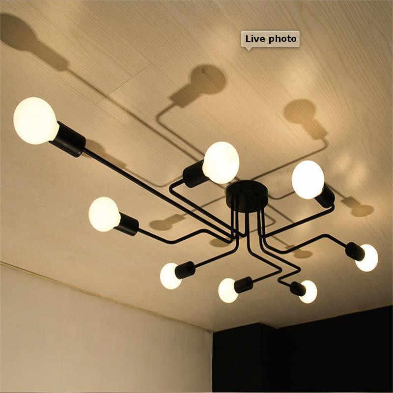 Lustre en métal à tige Multiple plafonnier en fer Vintage Edison E27 ampoule lampara pour luminaire domestique île de cuisine nordique