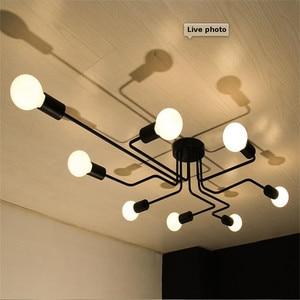 Image 2 - Multiple Rod metal chandelier Vintage Iron Ceiling Lamp Edison E27 Bulb Lamparas for Home Lighting Fixture Nordic Kitchen island