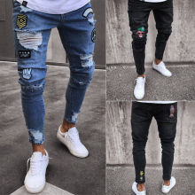 Новинка, модные мужские обтягивающие джинсы, Rip, облегающие, стрейчевые, джинсовые, с потертостями, байкерские, с царапинами, с дырочками, длинные джинсы для мальчиков