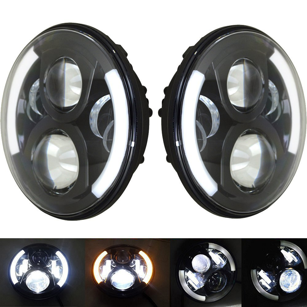 2pieces Super Bright Round 7 60w Headlight Motocycle Hi/Lo Beam  Wrangler Led Headlight With Halo Ring DRL driving lights 2pcs new design 7inch 78w hi lo beam headlamp 7 led headlight for wrangler round 78w led headlights with drl