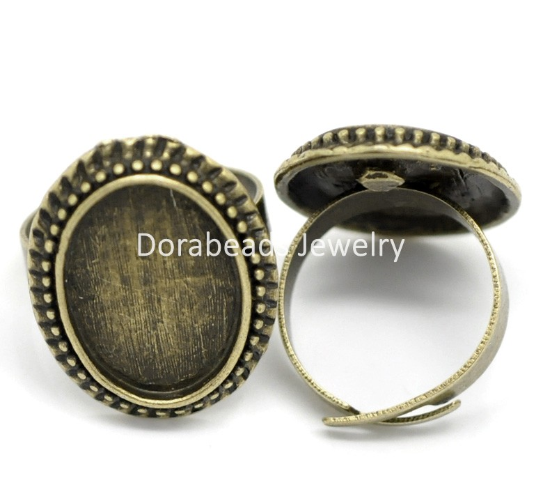 DoreenBeads 10PCs Antique Bronze Adjustable Oval Cabochon Ring Settings 17.5mm US 7 (Fit 18mmx13mm) (B19816) yiwu