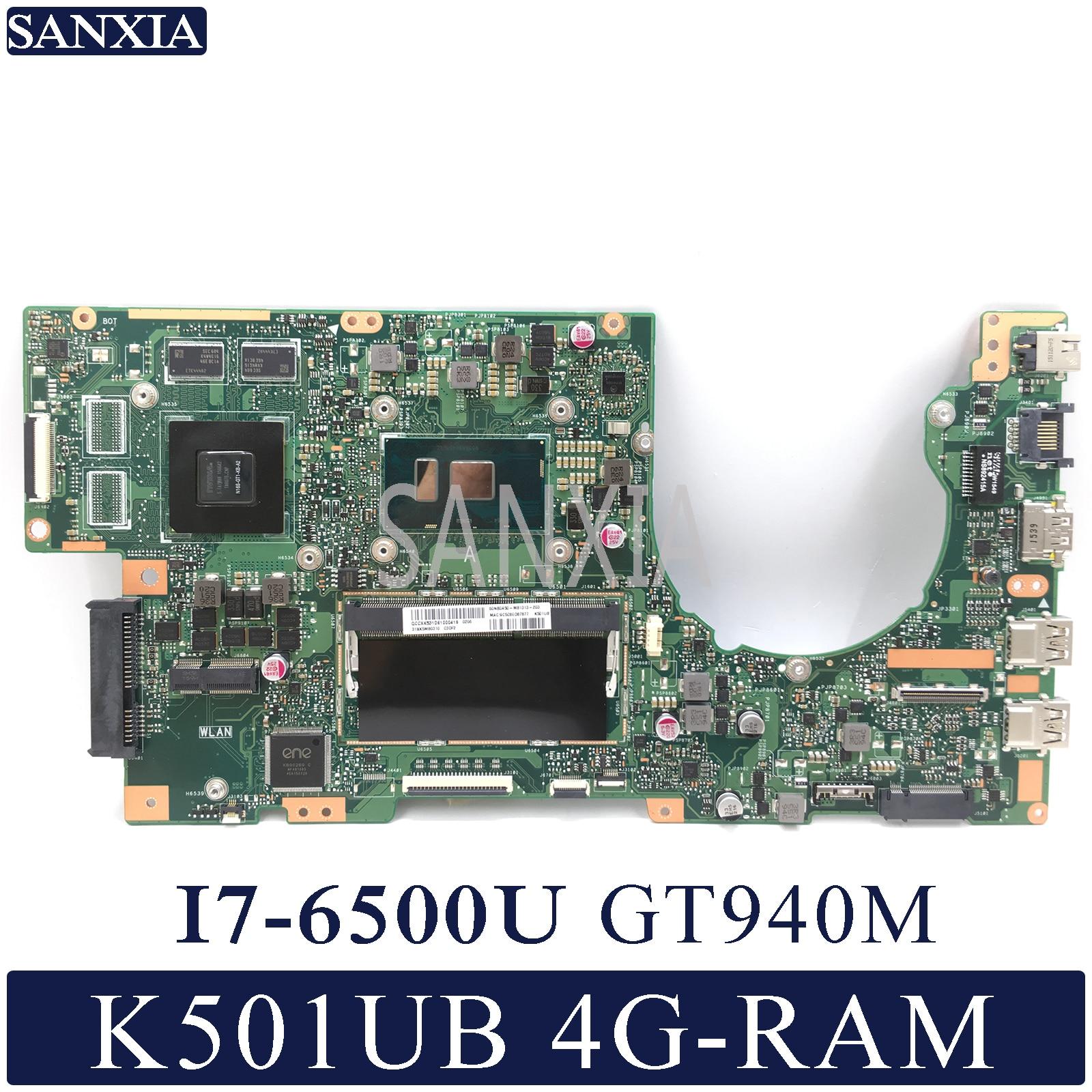 KEFU K501UX Laptop motherboard para ASUS K501UB K501U Teste mainboard original DDR3 4G-RAM I7-6500U GT940M