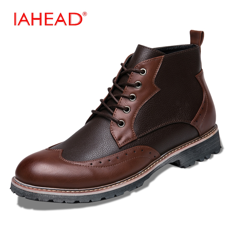 IAHEAD Men Chelsea Boots Lace-Up Wear Resisting Casual Shoes Winter Boots Martin Boots boats masculinas MU509 iahead men boots men chelsea boots winter lace up flats casual shoes men leather ankle boots chaussure homme de marque mh598