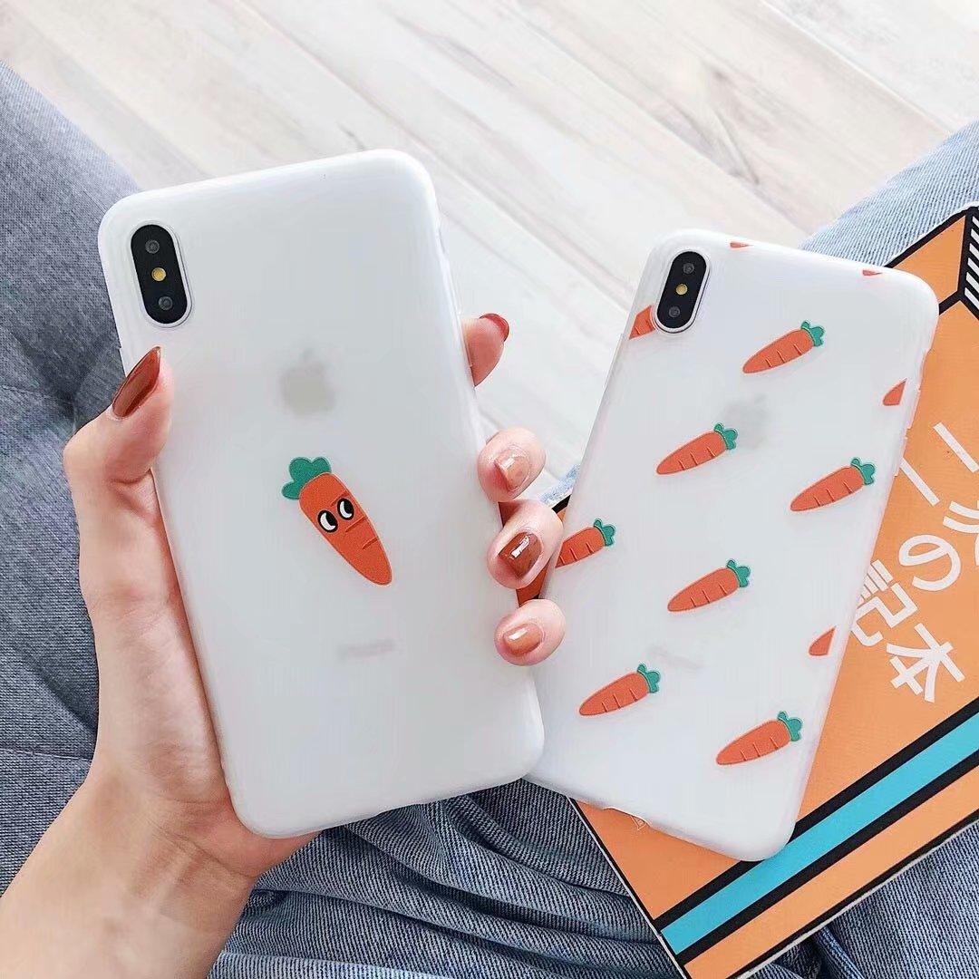 Cute Carrot Scrub Phone Case For Apple iPhone X XR XS Max 7 8 6 6s Plus Soft TPU Ultra-thin Back Cover Girl Capa Coque Shell