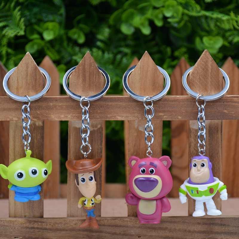 4 Figura de Ação de Toy Story Buzz Lightyear Woody Jessie Figuras Keychain Mini Urso Pig Modelos Dragão Coleção Estatueta Toy Kids