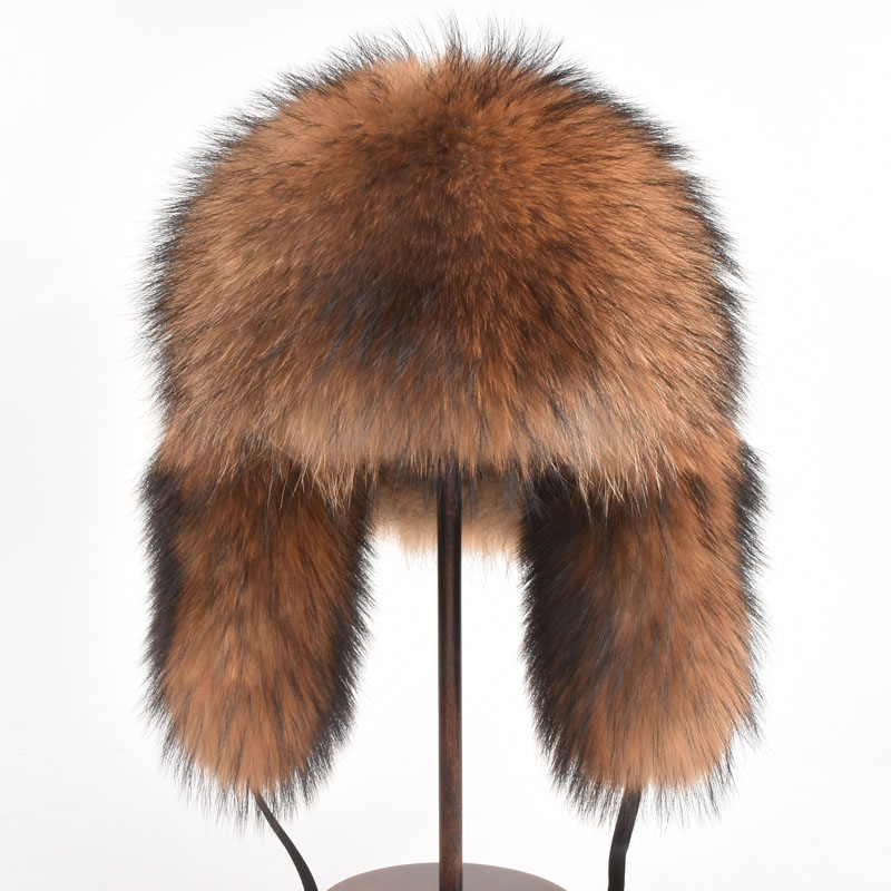 Real Fox Fur hat Bomber Hats Raccoon Fur Hats Women Men Warm Genuine Fur Female Brown Natural Fur Unisex Russian Bomber Winter globe panther golden brown fur
