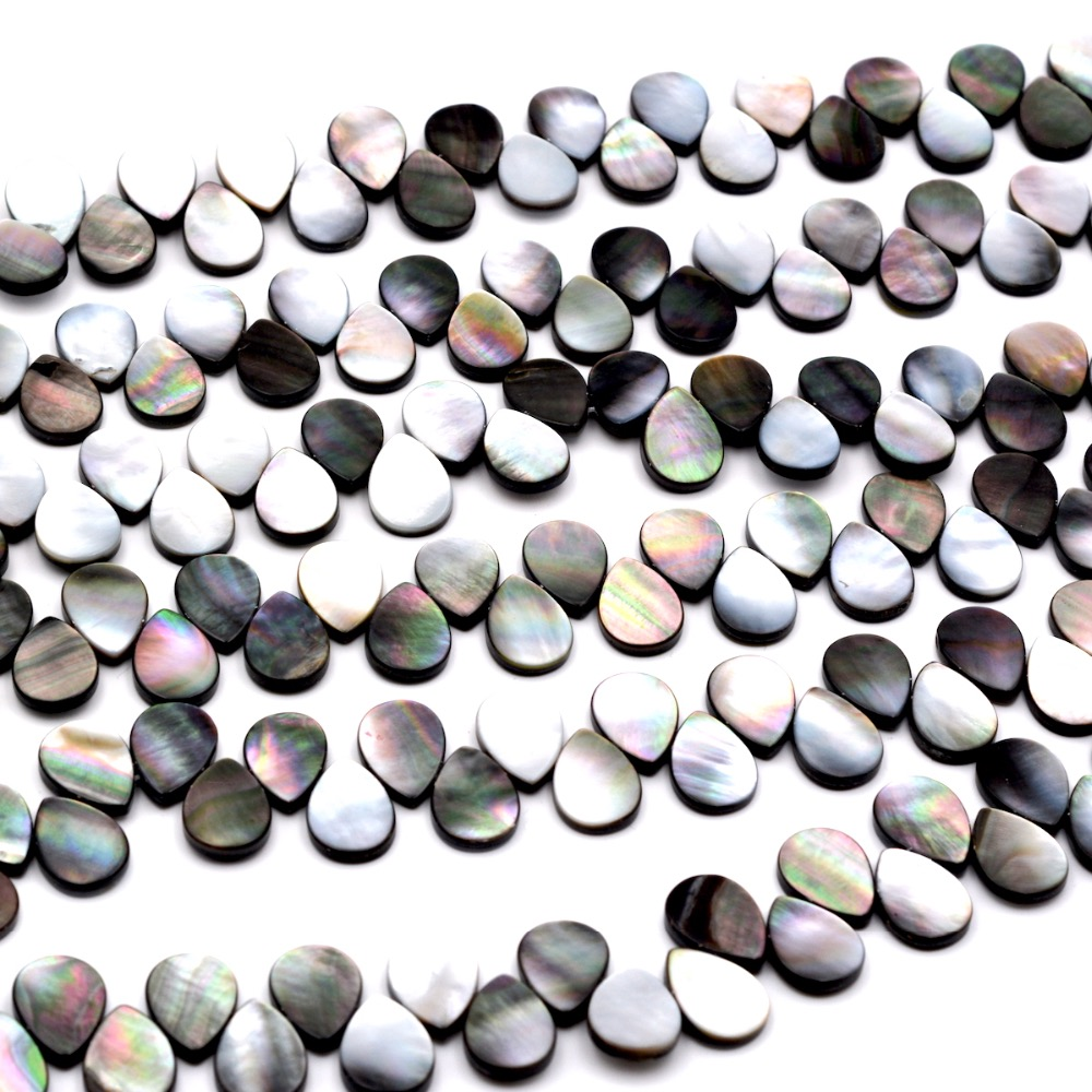 Free Shipping Natural Stone Teardrop Black Shell Beads Round For Jewelry Making DIY Bracelet Necklace
