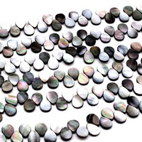 Free Shipping Natural Stone Teardrop Black Shell Beads Round Beads For Jewelry Making DIY Bracelet Necklace