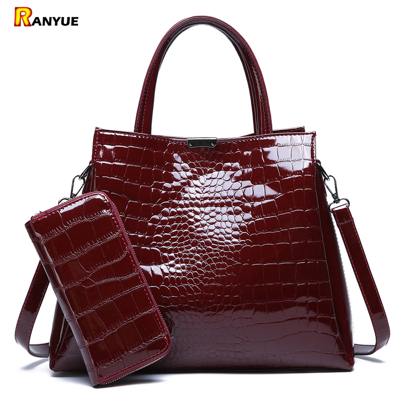 53906ecf5f27 US $22.99 44% OFF|Luxury Brand Crocodile Women Bag Black Red Patent Leather  Women Handbags Set Large Capacity Shoulder Bag Female Tote Bags+Wallet-in  ...