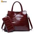 Роскошная Брендовая женская сумка из крокодиловой кожи  черные  красные женские сумки из лакированной кожи  набор вместительных сумок на пл...