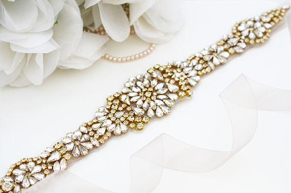 Kézzel készített esküvői ruha öv arany strasszos szalag - Esküvői tartozékok