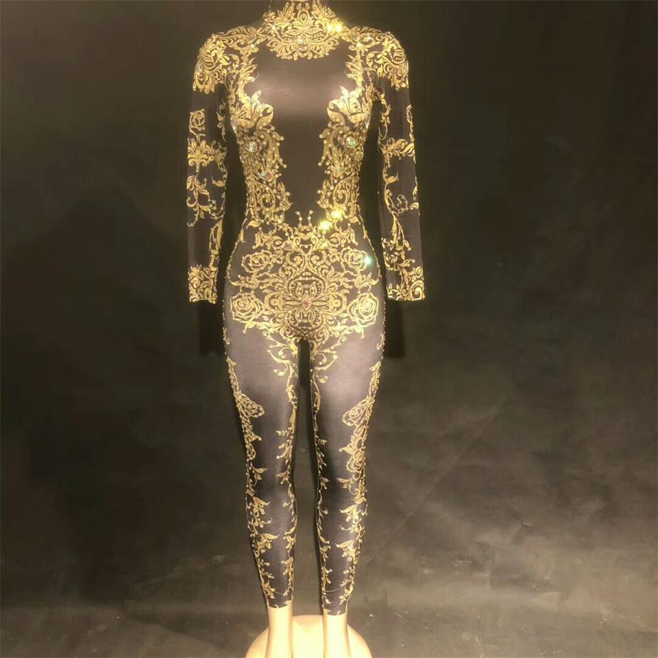 Sexy Stage Black Crystal Jumpsuit Nightclub Bar Dance Wear Rhinestone  Bodysuit Leggings Celebrate Outfit Performance Clothing 24a341560dba