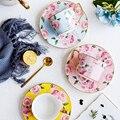Модный золотой ободок  розовая керамическая кофейная чашка  блюдце  домашняя чайная чашка  набор  простой послеобеденный чайный цветок  чай...