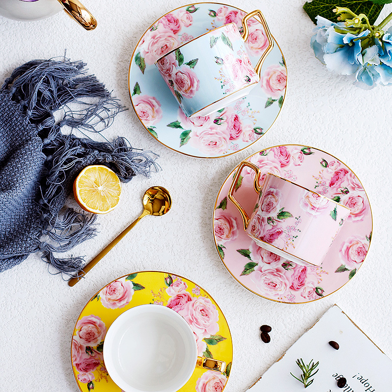 Fashion gold rim rose ceramic coffee cup saucer home tea cup set simple afternoon tea flower tea cup with spoon Holiday gift in Coffeeware Sets from Home Garden