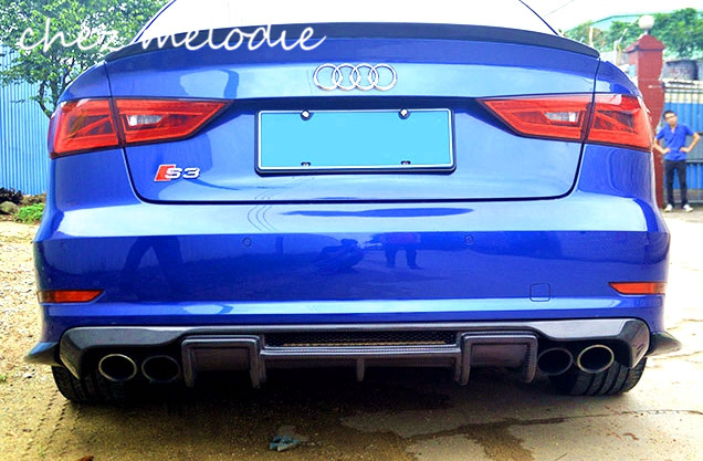 RS High quality all real carbon fiber/FRP car twopair outler rear diffuser bumper For Audi A3 Sline RS3 Sedan 2014-2016