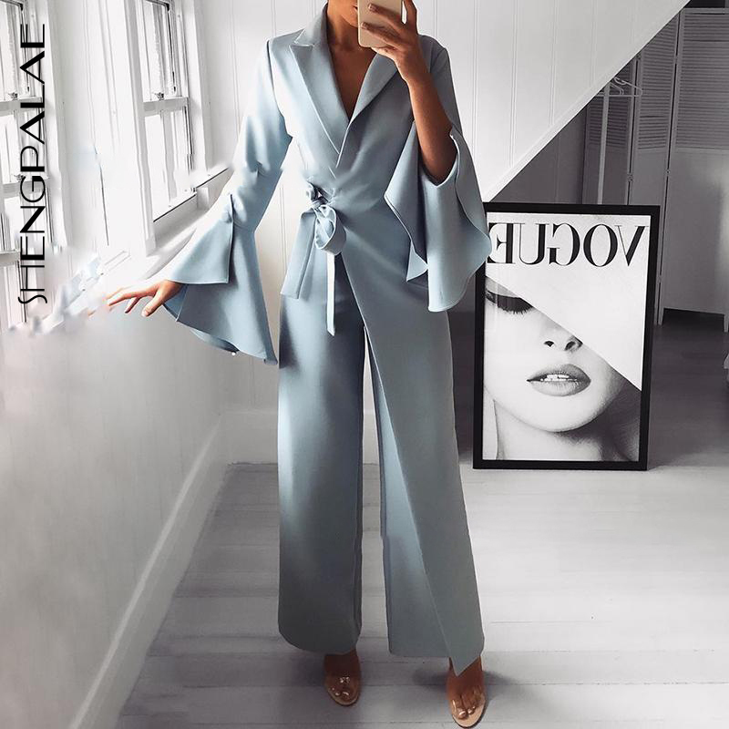SHENGPALAE 2019 New Fashion Personality Flare Sleeve Turn down Suit Collar Sexy High Waist Summer Spring Women Jumpsuit FN306-in Jumpsuits from Women's Clothing    1