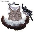 Romper Vestido de Leopardo Marrom Rendas Infantil Tutus Da Criança do vintage Arco Sapatos Headband do Set Vestido Para Bebe Recém-nascidos Do Bebê Roupas de Menina