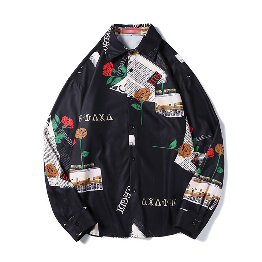 korean Oversized Shirt Men Fashion Long Sleeve Floral Shirt Hip Hop Streetwear Mens Shirts Big Sizes Camisa Masculina Clothing