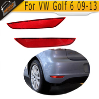 1 Pair MK6 ABS Red Rear Bumper Reflector Lamps Lights Covers For VW Golf VI MK6