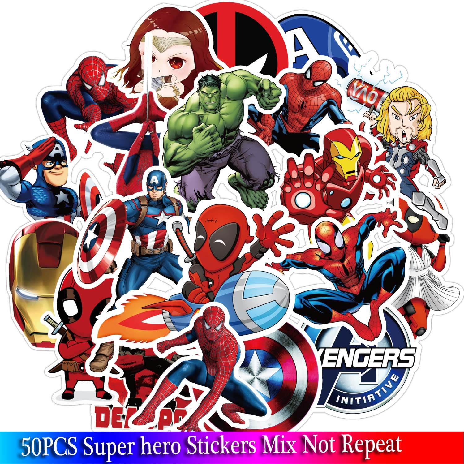 50PCS Super Hero Stickers Movies Character Marvel Sticker For DIY Skateboard Motorcycle Luggage Laptop Cartoon Sticker Sets image