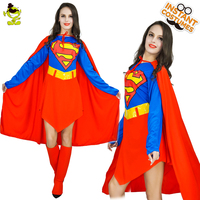 Hot Red Supergirl Costumes Carnival Party Pretty Superwoman Cosplay Fancy Dress Adult Cool Superman Decoration Dress