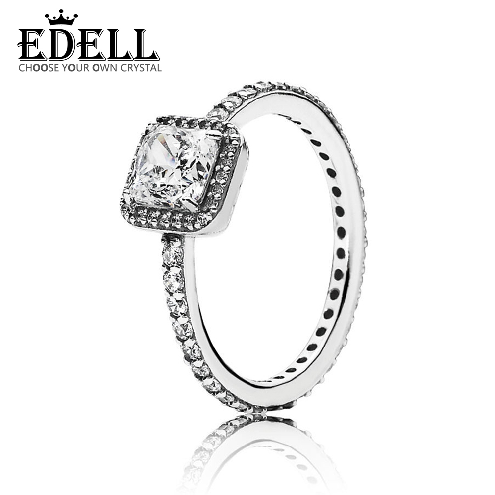 EDELL 100% Sterling silver 1:1 Glamour 190947CZ TIMELESS ELEGANCE RING Original Women wedding Fashion Jewelry 2018EDELL 100% Sterling silver 1:1 Glamour 190947CZ TIMELESS ELEGANCE RING Original Women wedding Fashion Jewelry 2018