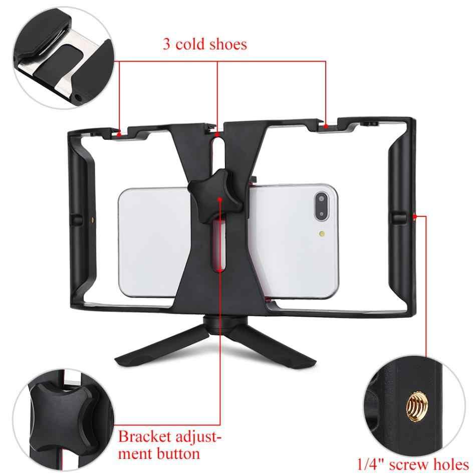 Portátil de Mão Dupla Gaiola Estabilizador de Vídeo Pega Firme Montar Titular Aderência Rig Kit Filme Para O Telefone Inteligente de Vídeo Fabricante