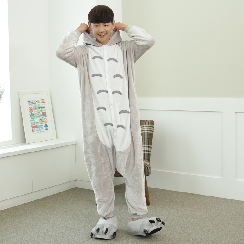Lovely Cartoon Totoro Cat Onesie For Adults Large Size Flannel Pajamas Kigurumi For Halloween Cosplay Parties Overall Bodysui (3)