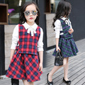 2017 New Girls Sets Fashion Plaid Pattern Cotton Long-sleeved Shirt+Vest+Skirt Three-piece Sets Children Clothing Female Suits