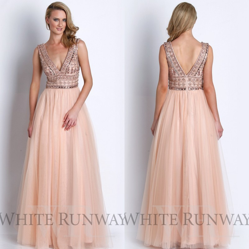 Blush Pink Long Evening Dresses