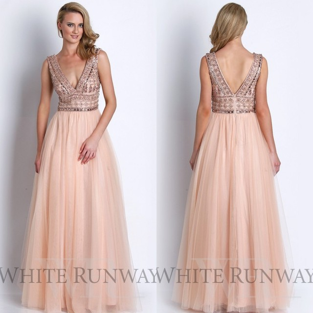 2015 Newest Blush Pink Evening Dress V Neck Floor Length Tulle Beading  Crystal Prom Dress Party Dress Custom Made EM03536 df8c0670993d