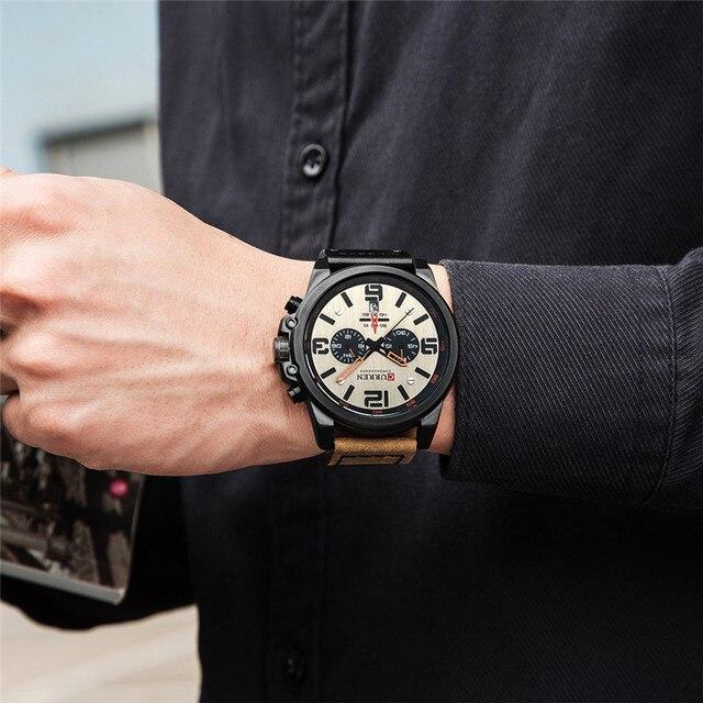 CURREN Men's Sport Military Genuine Leather Chronograph Calendar Date Waterproof Quartz Watches 2