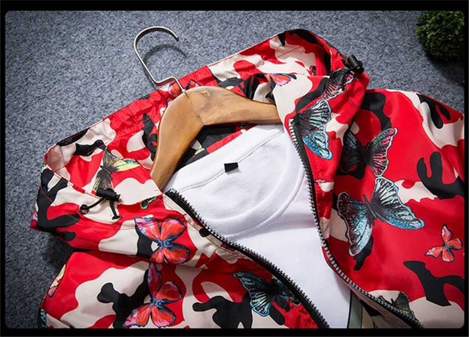 HTB1z2hBCgKTBuNkSne1q6yJoXXan Mens Casual Camouflage Hoodie Jacket 2018 New Autumn Butterfly Print Clothes Men's Hooded Windbreaker Coat Male Outwear WS505