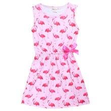 Платье с фламинго для девочек; летние платья без рукавов для девочек; детская одежда с лебедем для подростков; платья принцессы
