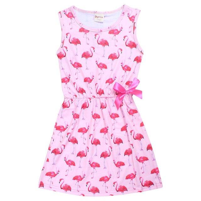 32c44cb9fea3 Flamingo Girl Dress Summer Sleeveless Dresses for Girls Children's Teenager  Designs Swan Baby Kids Clothes Princess Dresses