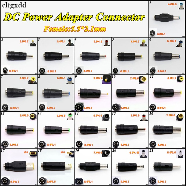 cltgxdd 1PCS DC power Adapter Connector Plug DC Conversion Head Jack Female 5.5*2.1mm Plug to Male 5.5*2.1/4.5*3.0mm for HP