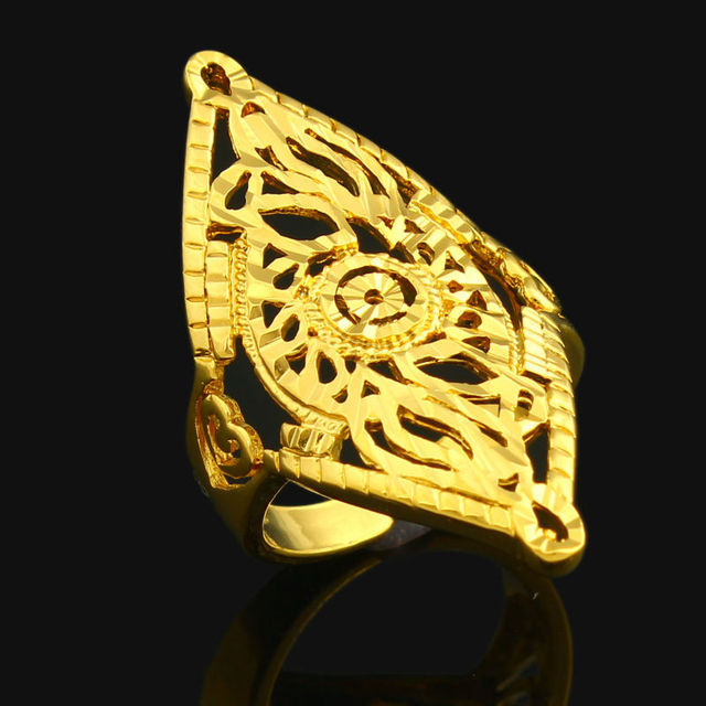 Adjustable size Dubai Gold Rings 24K Gold Color Ring For Women