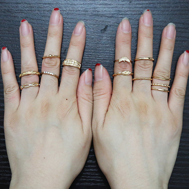 12pcs sets Ethnic Vintage Eagle Rings Midi Rings Gold Color Boho Style Female Charms Jewelry Ring