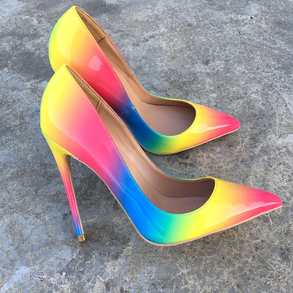 ffb1b50c7e53 Themost Womens Fashion Slip on Dress Pumps Colorful Rainbow Print Pointy  Toe Pencil High Heel Shoes Big size-in Women s Pumps from Shoes on  Aliexpress.com ...