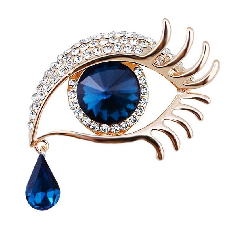 Прямая продажа с фабрики синяя брошь с изображением глаза булавка со стразами в золотом или серебряном цвете