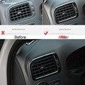 Tonlinker Abdeckung Fall Aufkleber für VW Volkswagen Polo 2011 17 Auto Styling 2 stücke edelstahl dashboard outlet abdeckung aufkleber Kfz Innenraum Aufkleber Kraftfahrzeuge und Motorräder -