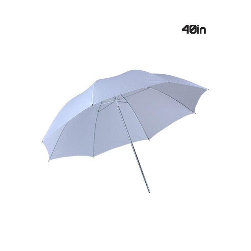 EDMTONLightweight 40in 102cm Pro Studio Photography Flash Translucent Soft Lambency Umbrella White Nylon Material Aluminum Shaft