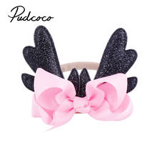 2018 New Colorful Boho Newborn Fashion Christmas Infant Baby Antlers Headband Dance Ballet 6 Colors Elastic Hair band(China)