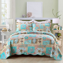 Marine Printed Bedspread Quilt Set 3pcs Cotton Quilts Quilted Coverlets Bed Cover Pillowcase King Queen Size Bedding Blanket