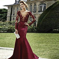 Vestiti Da Sera Burgundy Long Sleeve Mermaid Evening Dress Zuhair Murad Lace Crystal Sexy See Through 2016 Prom Occasion Gowns