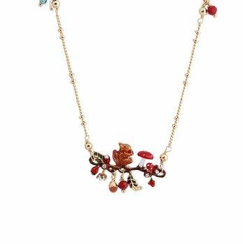 Warmhome модные украшения Эмаль глазури Медь Мода белка гриб цветок для женщин цепочки и ожерелья