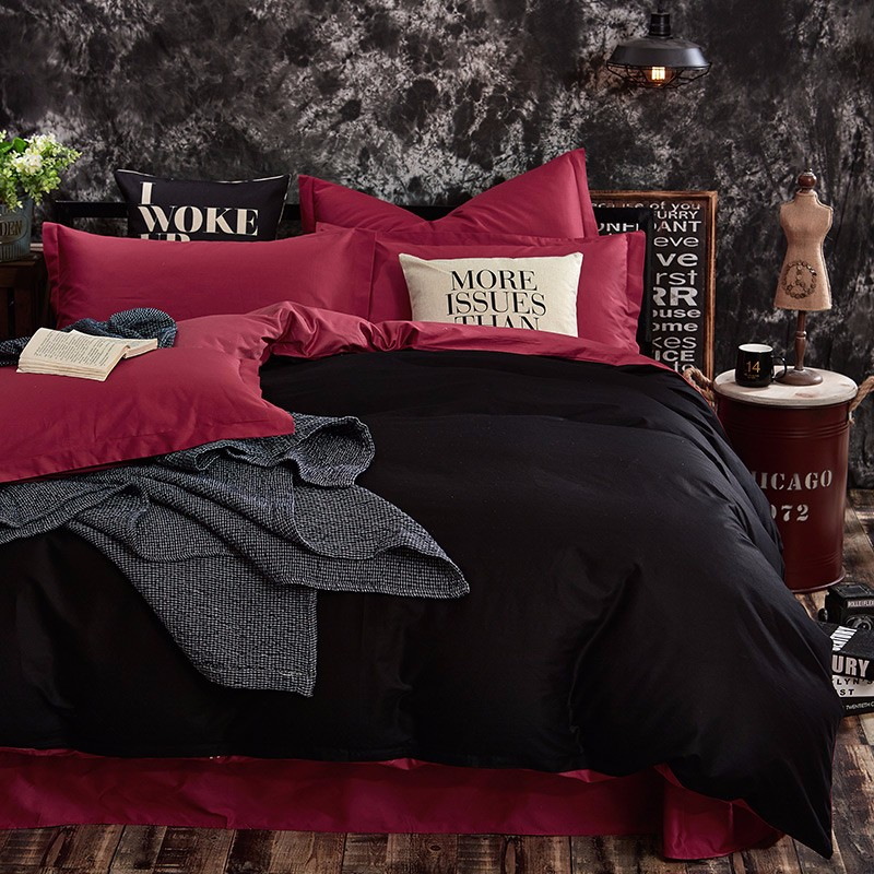 100% Cotton Black Red Color King, Queen, Twin, Size Bedding Set, Solid Color Duvet Cover Set, Bed sheet /Fitted Sheet, Pillowcases 17
