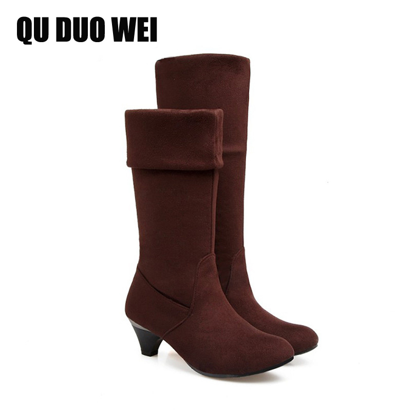 QUDUOWEI 2018 Western Style Flock Women Mid-Calf Boots Autumn Winter Chunky Heels Shoes Gray Brown Ladies Slip On Fashion Boots 2018 new superstar flock runway peep toe slip on fashion brand shoes wedges autumn spring lazy zipper mid calf boots for women