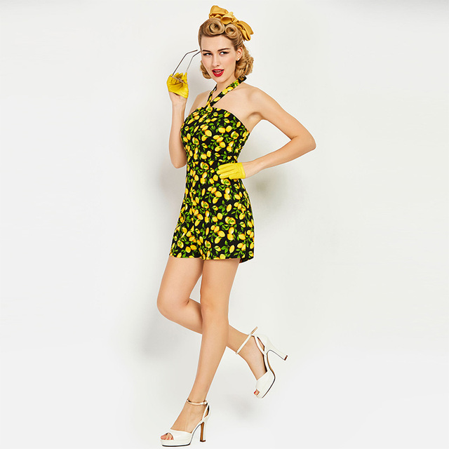 Sisjuly Summer Vintage Jumpsuit Sexy Backless Yellow Floral Print Backless Retro Vintage Playsuits Women Halter Vintage Jumpsuit