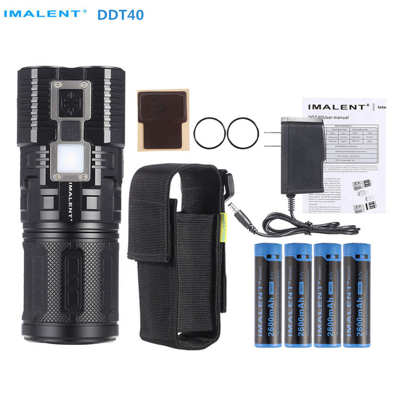Rechargeable Flashlight IMALENT DDT40 6*CREE LED max. 4200 lumen + 1180LM OLED Torch camping light + 4pcs 18650 batteries e17 cree xm l t6 2400lumens led flashlight torch adjustable led flashlight torch light flashlight torch rechargeable